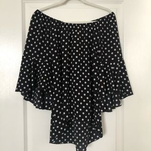Black White Polka Dot 3/4 Bell Sleeve Top Small